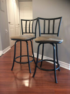 Swiveling Bar Stools with Cushioned Seats and Backs