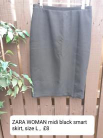 Zara Woman black midi skirt size L
