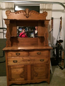 Antique, much loved dining room hutch