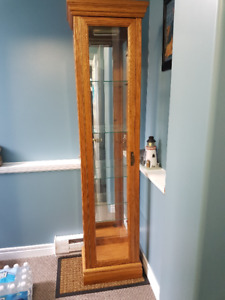 Oak Curio Cabinet with light and back mirror