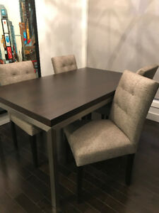 Crate & Barrel Parsons Walnut Dining Table + 4 Dining Chairs