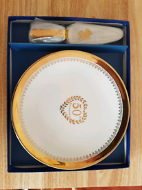 Royal Winton, 50th Anniversary cake plate and cake slice.