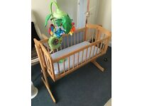 Babiesrus pine crib & fisher price cot mobile