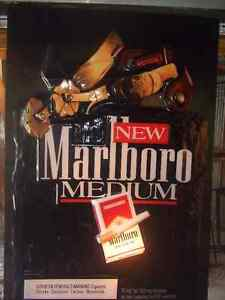 Tobacco Marlboro back-lit advertising sign.