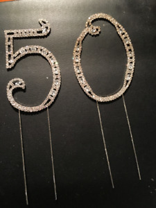 CAKE TOPPERS - 23 small #50s PLUS Crystal #5 & #0