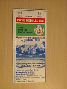 1982 MLB All-Star Game - Olympic Stadium ticket stub