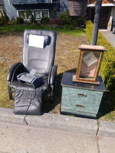 Free stuff. massage chair, fax machine phone, clock, drawers