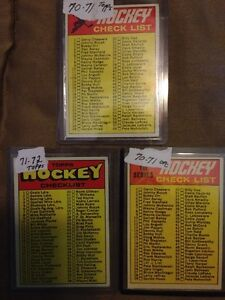 NHL  checklists for sale