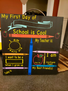 Customized first day of school chalkboards