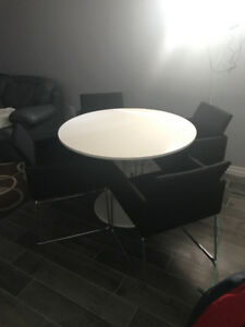 4 Black Fabric Dining Chairs