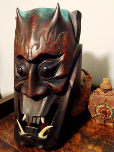 HORNED DEVIL MASK FANGED hand carved wood FABULOUS PIECE vintage Cambridge Kitchener Area image 3