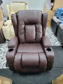 Manual Recliner Chair Faux Leather Armchair Massage