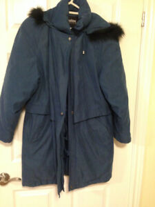 Winter long Goose Down Jacket with hood, with blue fox fur