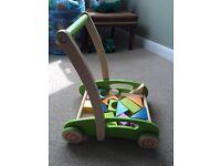 Hape block and roll walk / push along baby walker - wooden