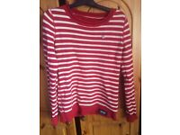 Superdry red and white stripe jumper