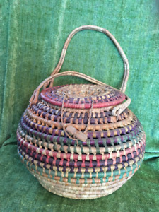 Hand woven First Nations baskets from British Columbia.
