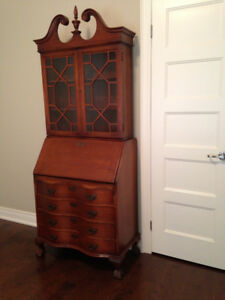 Maddox Antique Secretary Desk with Hutch