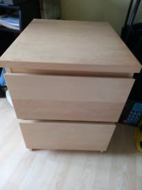 IKEA malm beech bedside cabinet/2 drawer cabinet storage unit