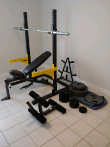 Bench, Squat Rack, and Plates