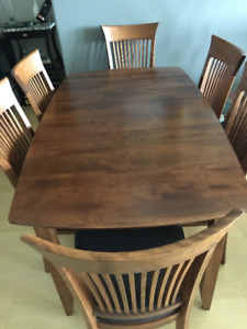 Custom built Canadian made dining table with 6 upholstered chair