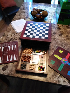 Wooden Chest, Checkers,Chinese Checkers, Backgammon etc.