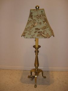 Old F.COOPER Chicago Brass Footed Tripod Two Bulb Lamp Pull Chai