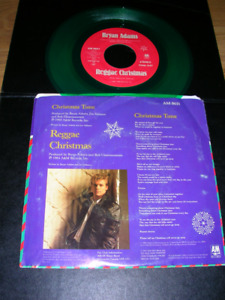 """Record. Bryan Adams """"Christmas Time"""" 1985 issue on Green Vinyl"""