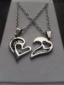 Cute hearts I love you silver pendant necklace gift