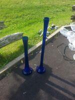 Vases en verre bleus