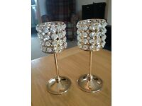 2x Crystal Gold Tealight Candle holder Ornament