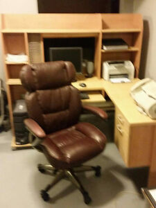 Computer Desk and Leather Chair