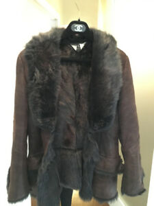 Authentic vintage short gucci fur and leather jacket (shearling)