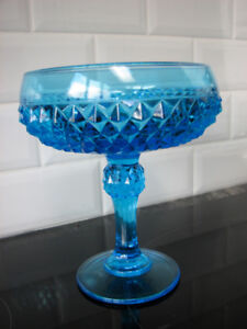 Antiquité Collection Verre Depression Glass Blue bleu Vase & Bol