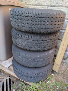 Steel rims with tires