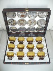 Retro vintage espresso/cappuccino amber glass set