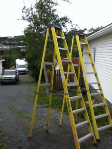 2 - 10 FOOT FEATHERLITE STEPLADDER PRICE $250.