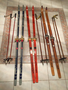 Italian & Norwegian X-Country Skis & Poles in Good Cond. $30 set