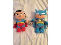 Superman and batman soft toy