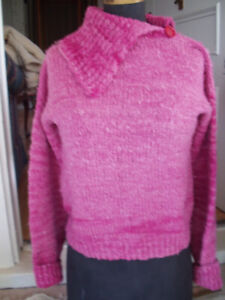 New 100% organic wool sweater Med. hand-carded/spun/knit/dyed