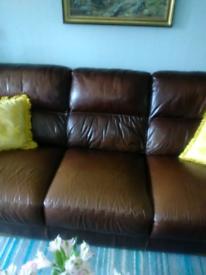 Heavy Gauge Leather 3 Seater Sofa