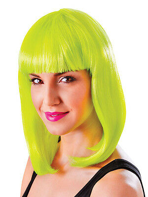 Neon Yellow Long Bob Wig Nikki Minaj Celebrity Style 80s Chick Fancy Dress New