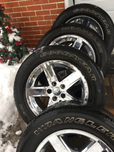 Dodge Ram 20inch rims x4 ( includes 4 summer Goodyear tires)
