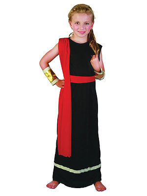 Girls Roman Emperor Queen Black Toga Greek Child Kids Outfit Fancy Dress Costume - Greek Girl Outfit