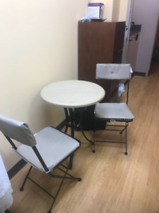 Bistro table + 2 chairs $ 35