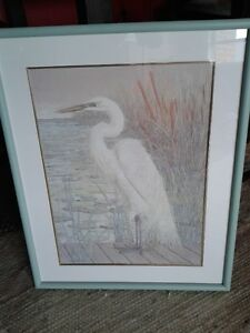 """28""""H BEAUTIFUL """"GREAT WHITE HERON"""" OIL PAINTING/FRAMED- SIGNED"""