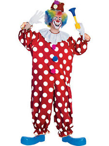 Adult Std Dotted Spotty Circus Clown Jester Fancy Dress Costume Male BN