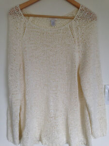 High end Chico's plus size 3 cream knit
