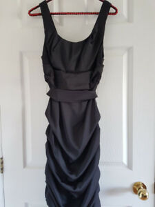 Le Chateau Black Satin Cocktail Dress