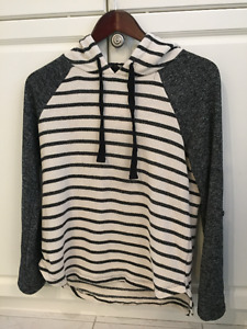 Black and White striped Sweater Hoodie