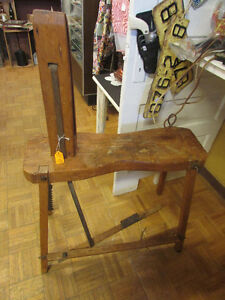 ANTIQUE LEATHER WORKING BENCH